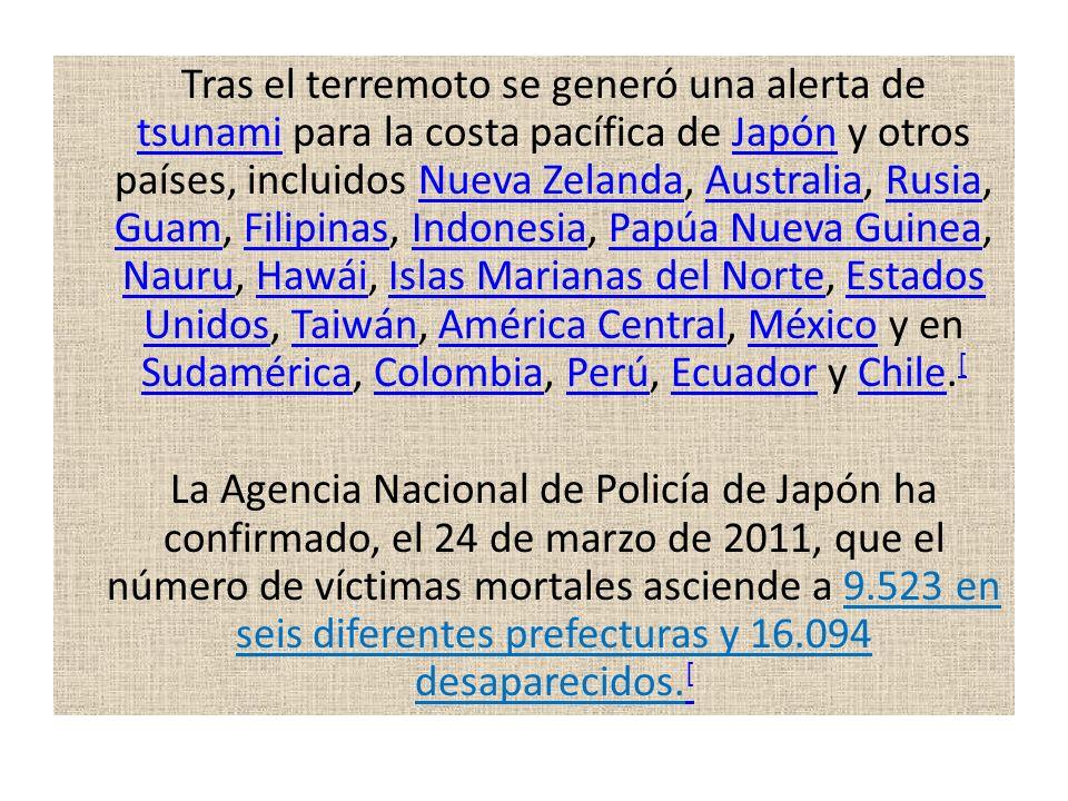 Tras el terremoto se generó una alerta de tsunami para la costa pacífica de Japón y otros países, incluidos Nueva Zelanda, Australia, Rusia, Guam, Filipinas, Indonesia, Papúa Nueva Guinea, Nauru, Hawái, Islas Marianas del Norte, Estados Unidos, Taiwán, América Central, México y en Sudamérica, Colombia, Perú, Ecuador y Chile.[